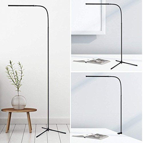 Cosprof 3-in-1 Dimmable LED Floor Lamp - Luminous Efficacy for 74 Pcs Lamp Bead - Adjustable Brightness - Growing warm and white light for Living Room Bedrooms and Office - Black with cramp ()