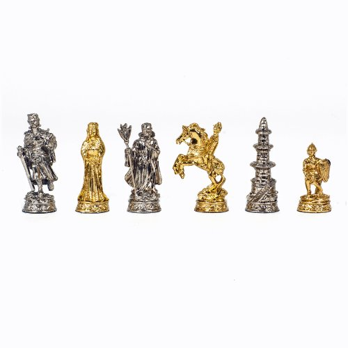 WE Games Medieval Chessmen - Pewter with 2.75 in. King by Wood Expressions