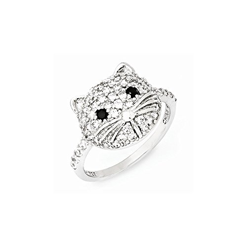 Cheryl M Sterling Silver White and Black CZ Cat Ring Size 7 ()