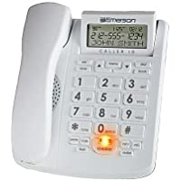 Emerson EM300WH Big Button Phone for Elderly Seniors [Improved Version with Longer Wire] Landline Corded Phone with Speakerphone (With Caller ID)