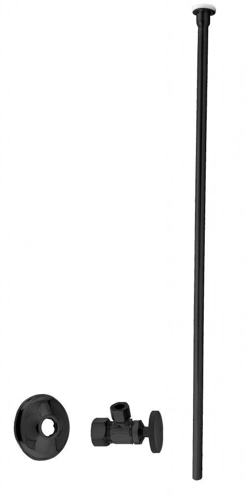 Westbrass D105KFH-62 Toilet Kit 5/8'' 3/8'' OD x 20'', Flat Head, Powder Coated Black by Westbrass