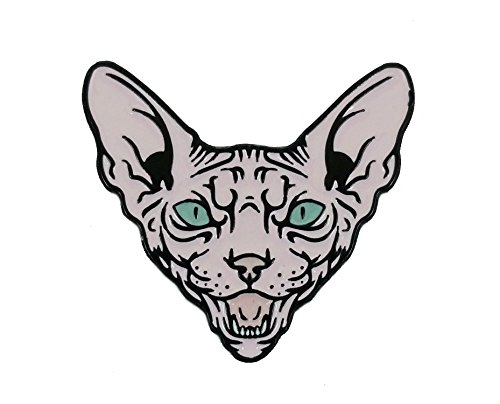(Tan Naked Angry Sphynx Cat Enamel Lapel Pin - Perfect Gift for Cat and Animal Lovers)