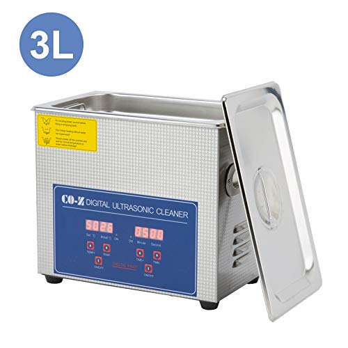 CO-Z 3L Professional Ultrasonic Cleaner with Digital Timer&Heater for Jewelry Glasses Watch Dentures Small Parts Circuit Board Dental Instrument, Industrial Commercial Ultrasound Cleaning Machine 110V