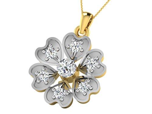 Or Jaune 18 ct Pendentifs Diamant en forme de Fleur, 0.14 Ct Diamant, GH-SI, 1.01 grammes.