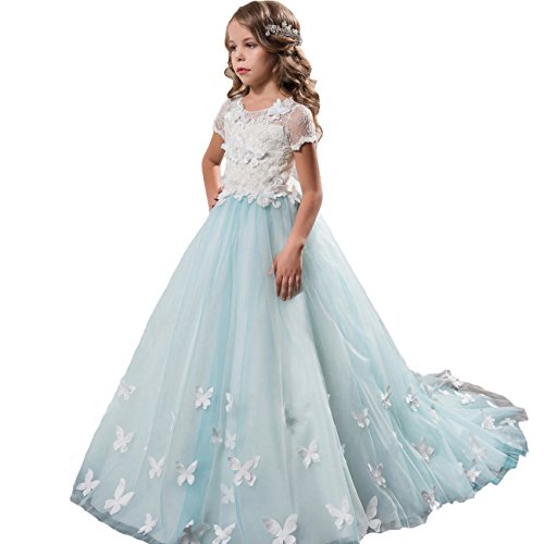Sittingley Fancy Girls Pageant Light Blue Dresses 0-12 Year Old L Size 10 ()