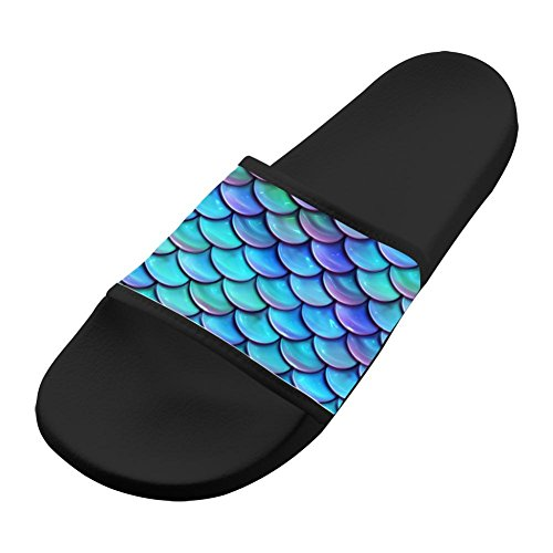 Price comparison product image Best Mermaid Scales Women Men Bath Slippers Anti-Slip 3D Printed Casual Indoor Couple Sandal Athletic Babouche Flat Shoes 8 B(M) US
