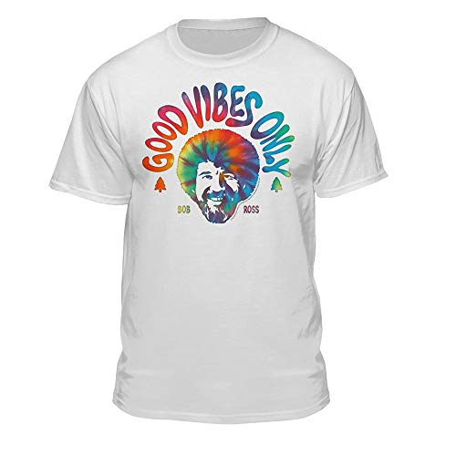 Bob Ross Good Vibes Only Official Licensed T-Shirt (2XL, White)