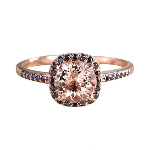 JeenJewels Limited Time Sale: 1.25 Carat Peach Pink Morganite (Round Cut Morganite) and Black Diamond Engagement Ring in 10k Rose Gold for Women