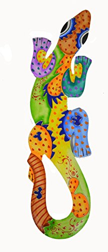 (Beautiful Unique Hand Carved Wooden Rainbow Gecko Lizard Tropical Island Wall Art)
