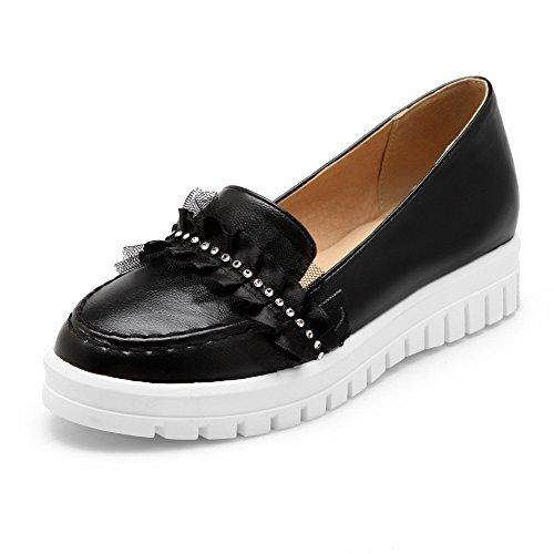 Amoonyfashion Womens Pull À Bout Fermé Talon Chaton Talons Pu Chaussures-chaussures Solides Noir