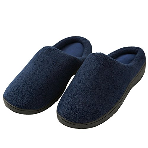 House Slippers For Men, Duckmole Mens Memory Foam Coral Fleece Shoes, Non Slip Soft Comfort Indoor Bedroom Footwear Navy Blue (Large/10-11 D(M) US)