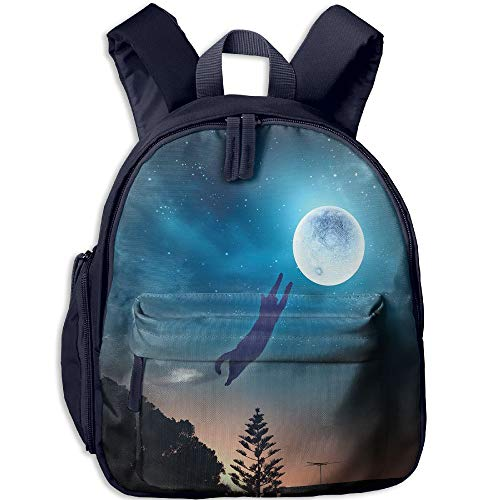 (Haixia Children Boy's&Girl's Backpack with Pocket Cat Cat Jumping in The Air Catching The Moon at Night Sky with Stars Fantasy Artwork Full Blue Magenta)