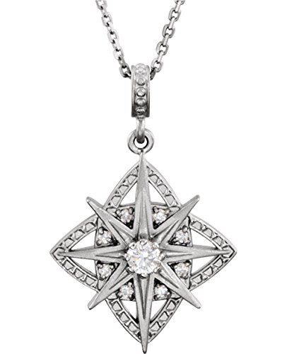 (Diamond Vintage-Style 8 Point Star Sterling Silver Pendant Necklace, 18