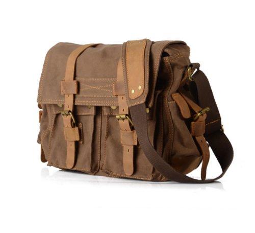 Smarstar® Canvas Männer Frauen Cross Body Einzel-Schulter -Laptop-Tasche mit Durable Strap - Coffee