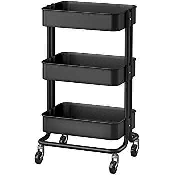 RASKOG 1419-903-339-76 Home Kitchen Storage Utility Cart, Black