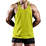 Workout Tank Tops for Men,Sunyastor Men's Summer Muscle Gym Stringer Tank Tops Fitness Casual Sport Sleeveless T-Shirts Yellow