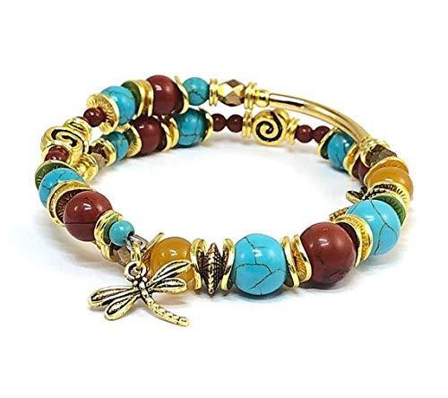 Multi Gemstone Bangle Dragonfly Bracelet Presents for Wife Memory Wire - Earthtone Gems