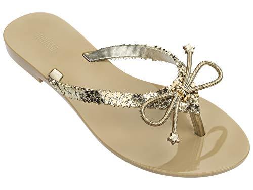 melissa Shoes Women's Harmonic Elements Gold Twinkle Size 10 M US (Womans Gold Thong Sandals)