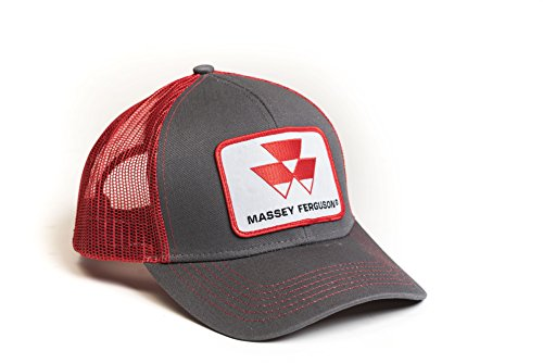 J&D Productions, Inc. Massey Ferguson Tractor Hat, Gray with Red Mesh Back