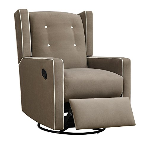 Baby Upholstered Swivel Glider - Baby Relax Mikayla Upholstered Swivel Gliding Recliner, Mocha Microfiber
