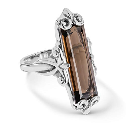 (Carolyn Pollack Sterling Silver Smokey Quartz Gemstone Baguette Ring Size 5)