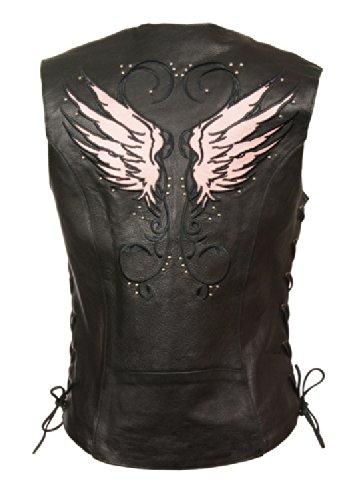 - Milwaukee Women's Leather Vest (Black/Pink, XX-Large)