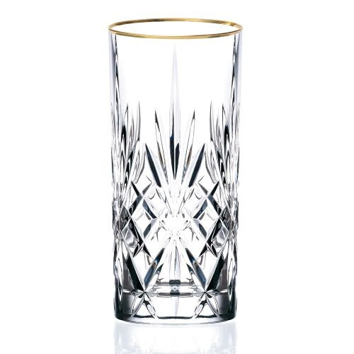 Crystal Beverage Glasses - Lorren Home Trends Siena Collection Crystal Water Beverage or Ice Tea Glass with Gold Band Design, Set of 4