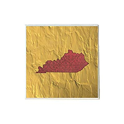 Red Paisley Kentucky Shape on Gold Coaster