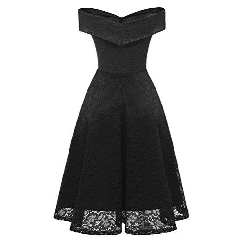 Women Dress, Vintage Floral Lace Off Shoulder Party Valentine's Day Black