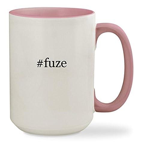 #fuze - 15oz Hashtag Colored Inside & Handle Sturdy Ceramic Coffee Cup Mug, Pink (Fuze Peach Mango)