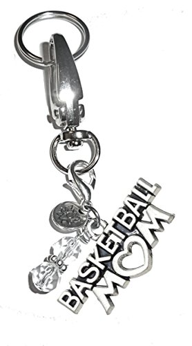 Message Charm Key Chain Ring, Women's Purse or Necklace Charm, Comes in a Gift Box! (Basketball - Ring Basketball Message