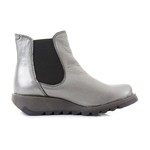 Fly Borgogna Ankle Lead Boots Womens London Leather Silver Salv Chelsea UqPxUgt1rw