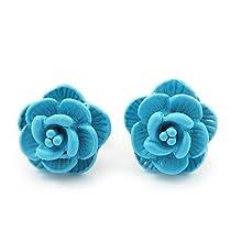 Tiny Light Blue Rose Stud Earrings In Silver Tone Metal - 10mm Diameter