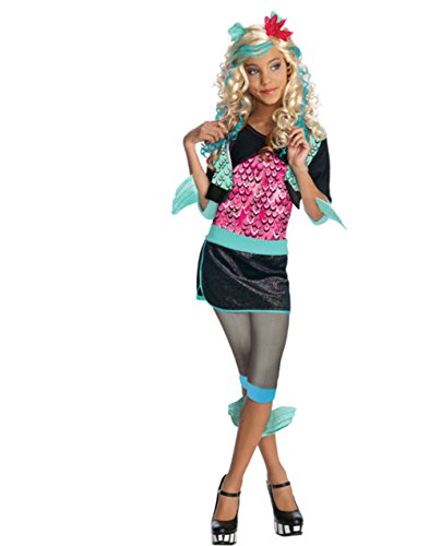 Girls Monster High Lagoona Blue Schoolgirl Costume And Wig Bundle Large 12-14