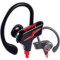 Veoker Sports Bluetooth Headphones Wireless Headsets with Mic Super Bass Sweatproof HD Stereo Earbuds for Gym Running Workout Noise Cancelling Earphones (Red)