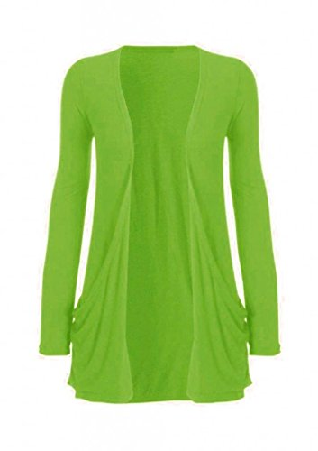 Hot Hanger Ladies Plus Size Pocket Long Sleeve Cardigan 16-26 (16-18 LXL, Lime)