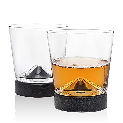 Coaster Set Stone Collection (Godinger Whisky Glass Old Fashioned Tumbler and Cooling Stone Coaster - Set of 2)