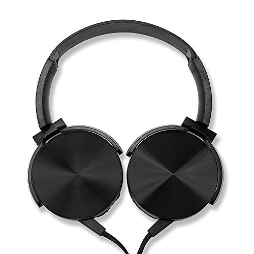 OCT17 Over Ear Headphone Earphone Headset with Mic Wired Noise Cancellation Modern Metallic Design - Black
