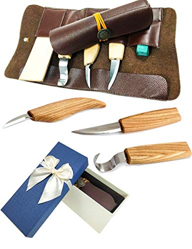 Wood Carving Tools Wood Carving Hook Knife Carving kit Set for Spoon Carving 3 Knives in Tools Roll Leather Strop and Polishing Compound Hook Sloyd Detail Knife Leather Cover case ()