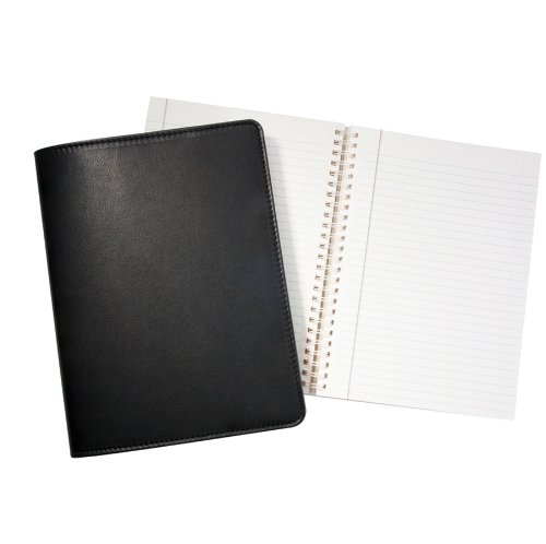 9'' Wire-O-Notebook, Genuine Leather Cover, Refillable, 7'' x 9-1/4'', Black by Graphic Image