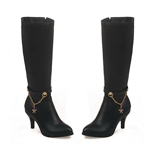 Women's Round Solid AgooLar Boots Heels Zipper Pu Closed Toe Black High dCPP14