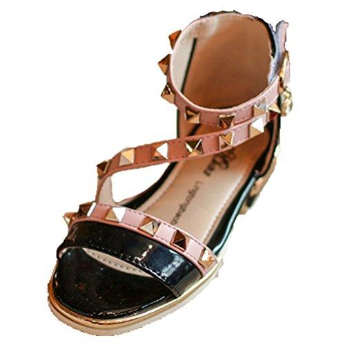 Ohmais Kinder Mädchen flach Freizeit Sandalen Sandaletten Kleinkinder Mädchen Halbschuhe Sandalette Ballerinas Schwarz