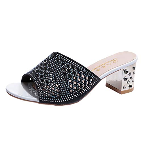 ◕‿◕ Watere◕‿◕ Women's Ladies Bohemia Style Crystal Peep Toe Slipper Sandals Casual Shoes Thick Fish Mouth Slippers Black