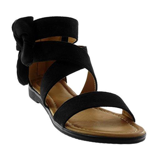 Angkorly Zapatillas Moda Sandalias Correa de Tobillo Mujer Correas Cruzadas Nodo Tacón Ancho 2 cm Negro