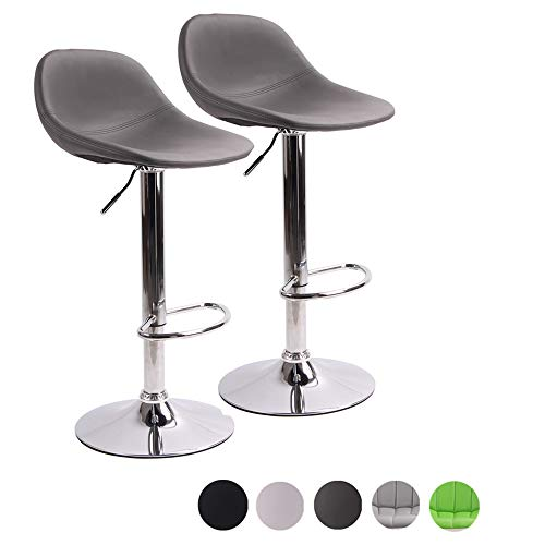Adjustable Swivel Barstools with Back for Home Bar Kitchen Counter, New Modern Grey PU Leather Hydraulic Bar Chair-Set of 2, Hold Up to 440lb