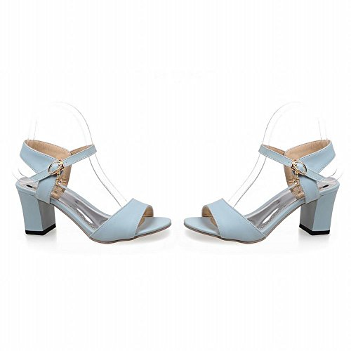 Charm Foot Womens Block Heel Mary Jane Open Toe Sandal Blue hNZGD
