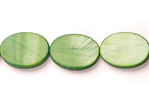 Capiz Shells Wholesale - Forest Green Mother-Of-Pearl Flat Oval Shell Beads Size:18x13mm