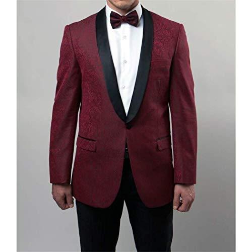(Mens Burgundy Jacquard 1 Button Slim Fit Tuxedo Jacket Blazer New with Sateen(38S))
