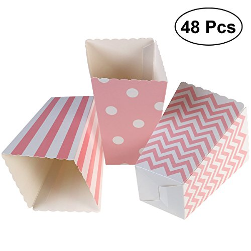 (NUOLUX Popcorn Boxes,Cardboard Candy Container,12 x 7CM,48pcs,Pink)