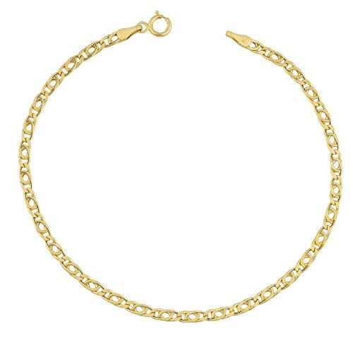 Or jaune 14cts/585Tiger Yeux Paon de chaîne-Largeur: 2.50mm-Longueur Au Choix